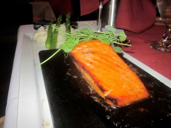 Plank Roasted Salmon $25.6 Bourbon maple glazed, Dijon mashed & grilled asparagus.