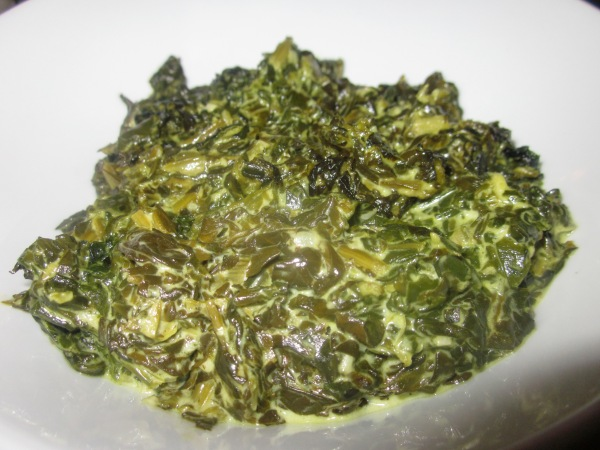 Creamed Spinach $4.1 ~ $8.2 Baby spinach with double cream & a splash of pernod.